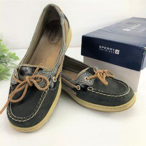 SPERRY TOP-SIDERS Black Plaid Boat Shoes
